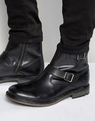 Base London Zinc Leather Biker Boots Black