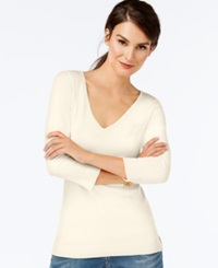 Inc International Concepts V Neck Three Quarter Sleeve Sweater Only At Macy's Washed White