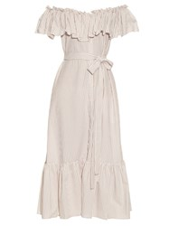 Lisa Marie Fernandez Mira Off The Shoulder Button Down Dress Beige