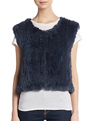 Saks Fifth Avenue Cropped Rabbit Fur Vest Blue