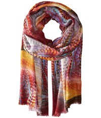 Bindya Feather Print Red Scarves