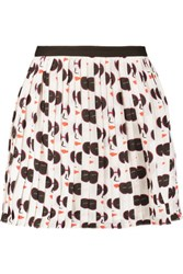 Raoul Pleated Printed Satin Mini Skirt White