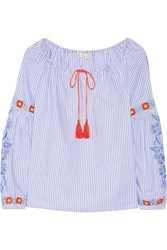 Tory Burch Madison Embroidered Striped Cotton Oxford Tunic Azure