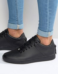 Asos Trainers In Black With Back Lace And Gold Details Black