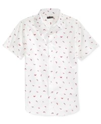 Ocean Current Men's Yummertime Watermelon Print Short Sleeve Shirt White