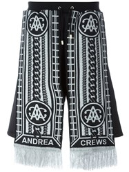Andrea Crews 'Sling Silver' Scarf Detail Shorts Black