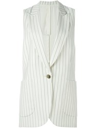 Petar Petrov Striped Sleeveless Jacket White