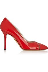 Charlotte Olympia Natalie Pvc Trimmed Patent Leather Pumps Red