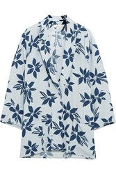 Paul And Joe Printed Crepe De Chine Blazer Sky Blue