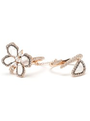 Saqqara 18K Rose Gold And Diamond Butterfly Meadow Ring Metallic