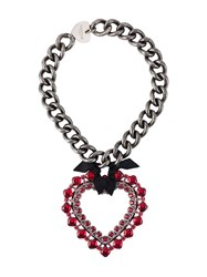 Lanvin Oversized Heart Pendant Necklace Metallic