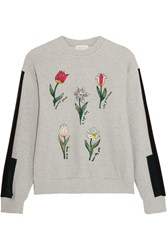 Steve J And Yoni P Embroidered Cotton Terry Sweatshirt Light Gray