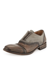 John Varvatos Leather And Canvas Double Bal Oxford Tan