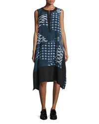 Public School Cyra Printed Silk Blend Shift Dress Navy