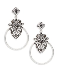 Gerard Yosca Deco Cluster Circle Drop Earrings Silver