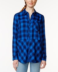 G.H. Bass And Co. Long Sleeve Button Front Plaid Top Bold Blue