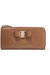 Salvatore Ferragamo Embellished Perforated Leather Wallet Brown