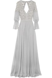 Temperley London Embellished Silk Blend Gown Gray