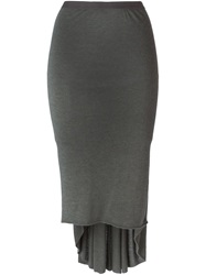 Rick Owens Lilies Draped Back Pencil Skirt Grey