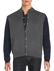 Saks Fifth Avenue Red Cotton Bomber Jacket Grey Navy