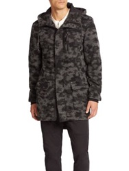Madison Supply Camo Hooded Parka Charcoal Multi