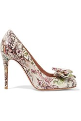 Red Valentino Redvalentino Bow Embellished Printed Leather Pumps Multi