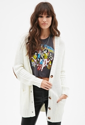 Forever 21 Chunky Knit V Neck Cardigan Cream Cream