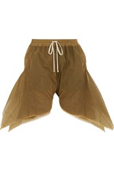 Rick Owens Flared Tulle Shorts Brown