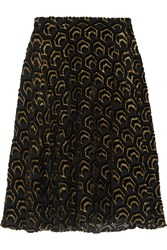 Co Flocked Metallic Silk Blend Skirt Black