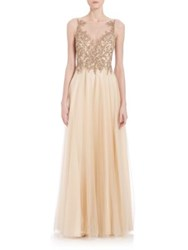 Basix Black Label Illusion Beaded Tulle Skirt Gown Champagne