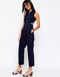 Asos Denim Wide Leg Jumpsuit With Collar In Indigo Indigo