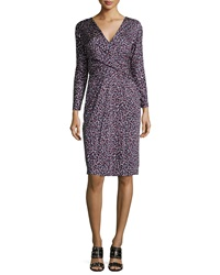 Tory Burch Long Sleeve Confetti Print Dress Red Pattern