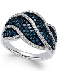 Wrapped In Love Blue And White Diamond Twist Ring In Sterling Silver 1 Ct. T.W.