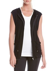 Karen Kane Solid Hooded Vest Black