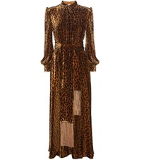 Hillier Bartley Leopard Printed Velvet Dress Brown