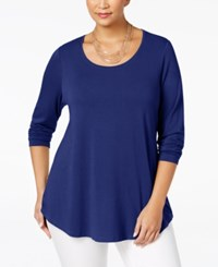 Jm Collection Plus Size Scoop Neck Swing Top Only At Macy's Bright Sapphire
