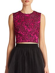 Badgley Mischka Meet And Greet Jacquard Cropped Top Magenta Black
