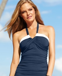 Anne Cole Contrast Trim Crisscross Tankini Top Women's Swimsuit Navy White