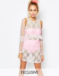 The Ragged Priest X Joanna Kuchta Sheer Dress With Frill Peplum Hem Pink