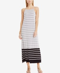 Vince Camuto Striped Colorblocked Maxi Dress Light Heather Grey