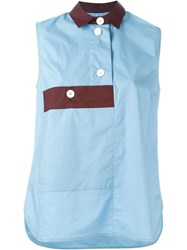 Marni Contrasted Detail Sleeveless Shirt Blue