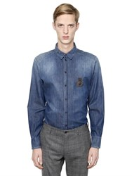 Dolce And Gabbana Bee Crown Crest Cotton Denim Shirt