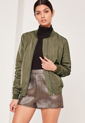 Missguided Ruched Bomber Jacket Khaki Green