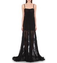 Ann Demeulemeester Palm Embroidered Cotton And Silk Blend Gown Black