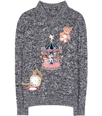 Dolce And Gabbana Cashmere Sweater With Applique Black