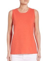 Saks Fifth Avenue Open Stitch Back Tank Coral Oatmeal