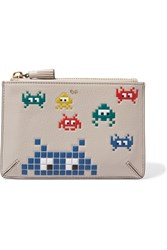 Anya Hindmarch Pocket Printed Textured Leather Pouch Taupe