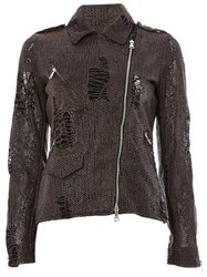Giorgio Brato Textured Biker Jacket Grey