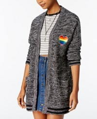 Almost Famous Juniors' Heart Patch Boyfriend Cardigan Black Combo