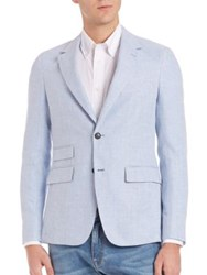 Faconnable Notch Lapel Virgin Wool Silk Sportcoat Baby Blue